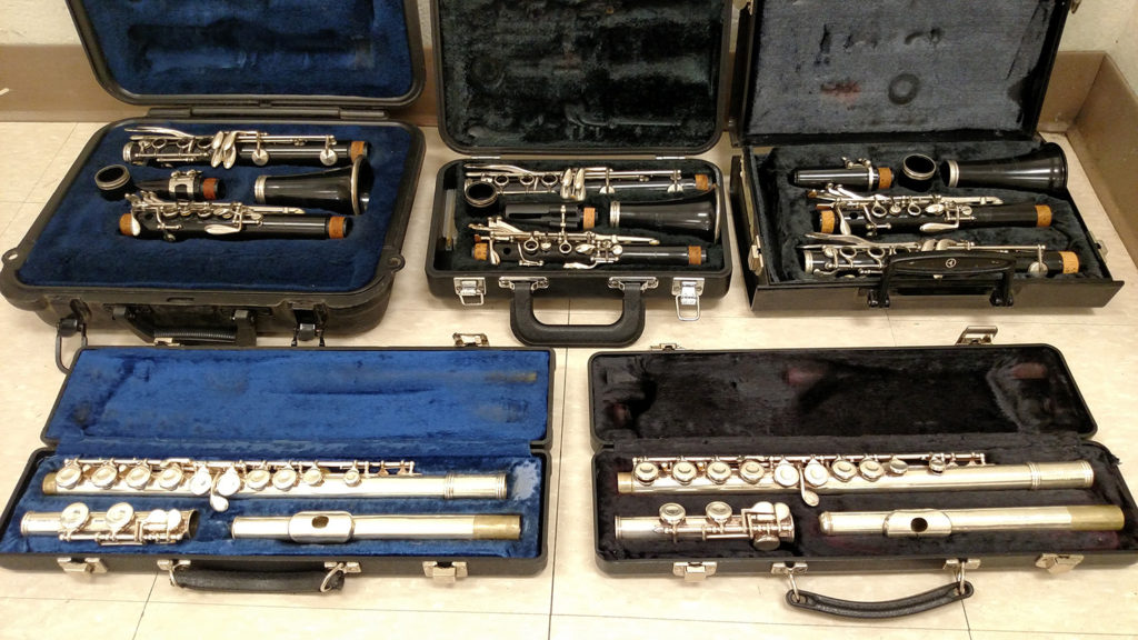 Just a few of the instruments we were able to provide to Price Middle School.